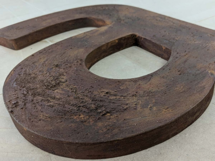 Rostbuchstaben, hergestellt von Schickerei Werbetechnik